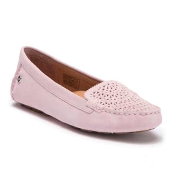 Clair Suede Flats Perforated Pink Suede